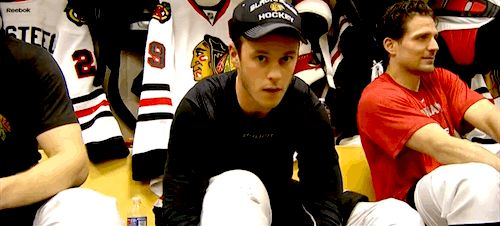 so-hockey-eh: Versteeg messing with Toews during his pregame shoot. He and Sharpie probably trade off captain teasing duties.