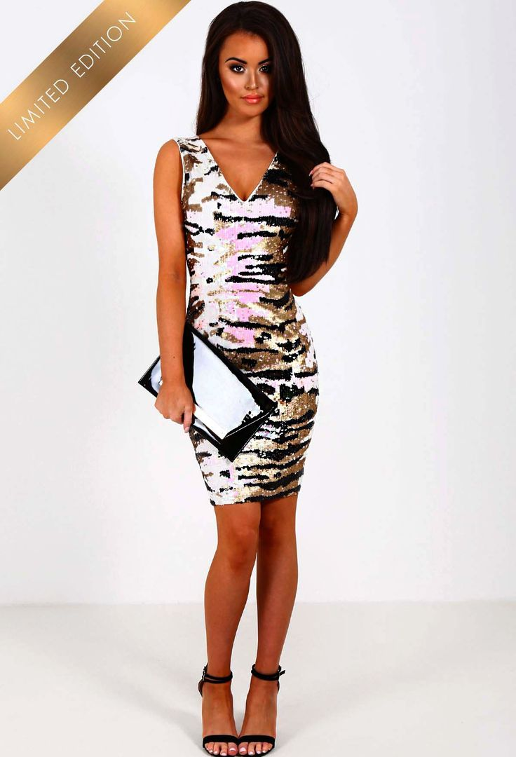 Limited Edition Girl Gone Wild Nude Sequin Animal Print Dress