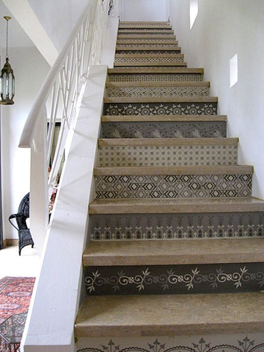 stenciled Moroccan stairs in Marrakech - I like the diamond pattern on the fourth step up.