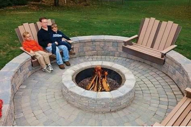 In ground/recessed seating around an in ground fire pit!