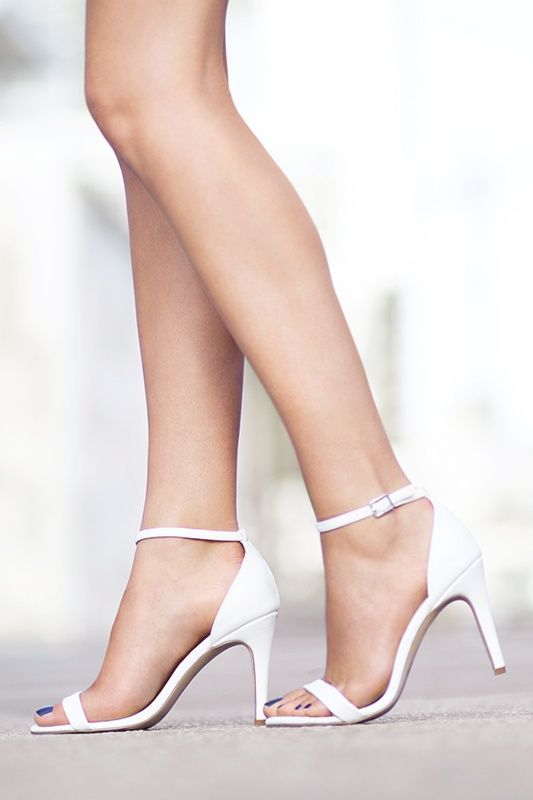 The style that goes with everything - the White Ankle Strap Heels. #newlook #shoes