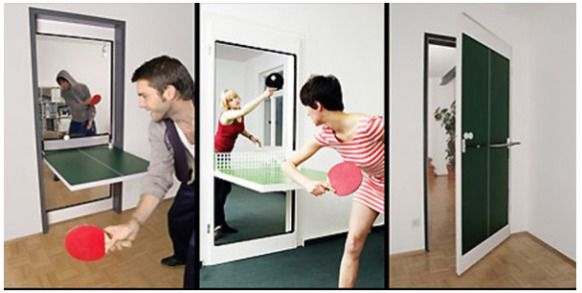 While it is a great idea to turn a door into a table tennis table it means while people are playing it you can't use it as a door!