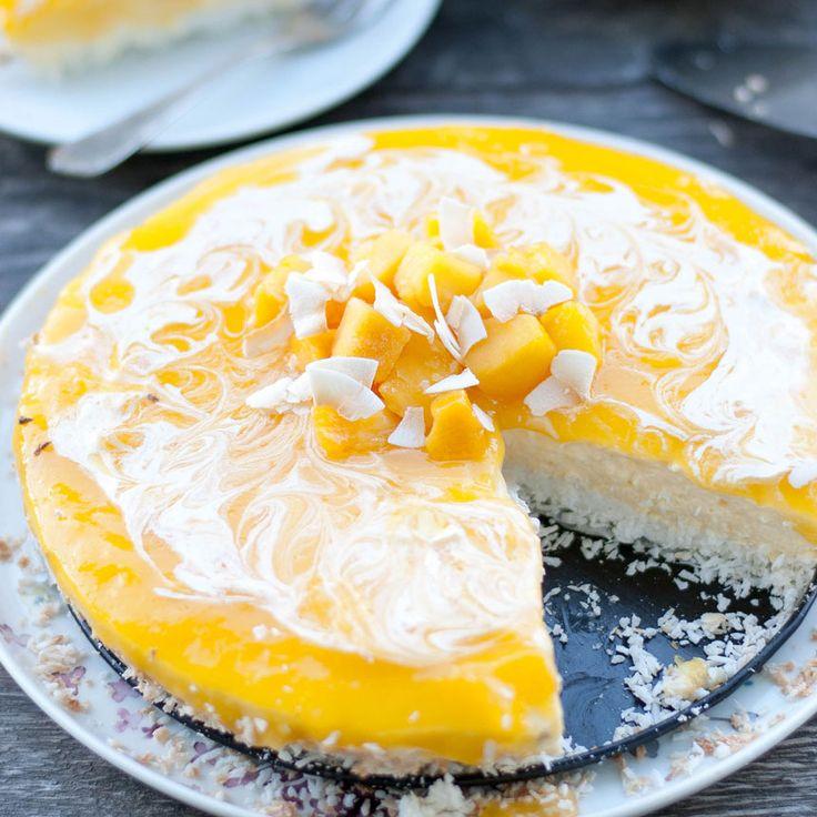 En ljuvligt god cheesecake med mango och kokos.