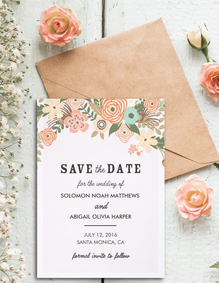 11 best wedding designs images on pinterest wedding designs classic casual floral save the date card save the date invitationsfloral wedding stopboris Images