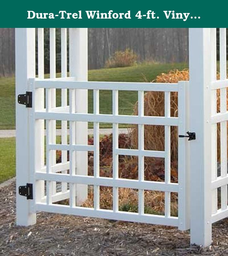 Dura-Trel Winford 4-ft. Vinyl Arbor Gate. The Dura-Trel Winford 4-ft. Vinyl Arbor Gate will turn your arbor into an official doorway into your garden, defining your backyard as a true outdoor room that is just as important as any indoor space. The formal entrance grants your tranquil sanctuary the respect it deserves. Crisp, straight lines invoke a contemporary style, meaning you can enjoy the nostalgic look of a gated arbor without the antique cottage feel. This gate is made from PVC with…