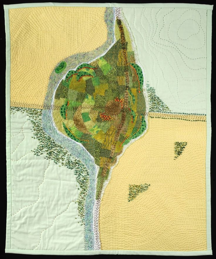 Village in Summer map art quilt by
