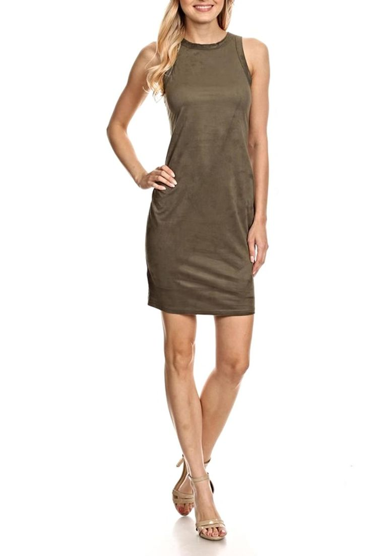 Sleeveless faux suede dress is incredibly soft to the touch. The back is racer cut. Pair with a denim jacket and boots.   Sleeveless Suede Dress by Blvd. Clothing - Dresses - Casual Clothing - Dresses - Suede Chicago, Illinois