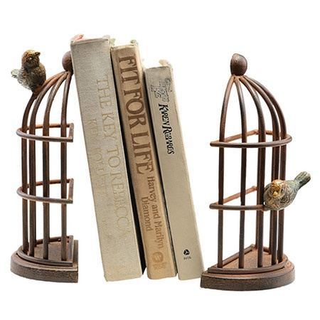 Bird Cage Bookend (set of 2) - $44.95 for the set. Would