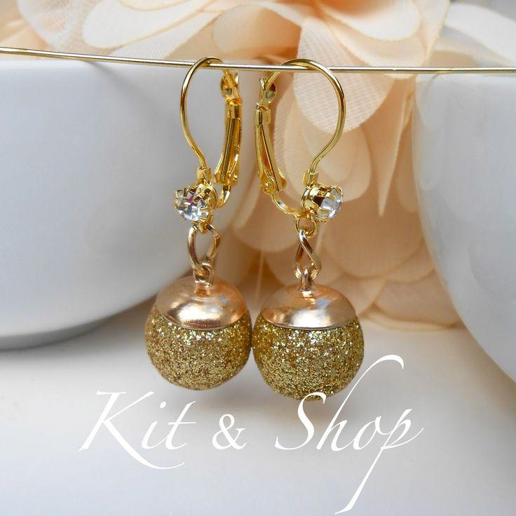 """KIT """"Boucles Dormeuses Boules Pailletées Doré à Strass de Verre Cristal©"""" : Kits, tutoriels bijoux par kit-and-shop"""