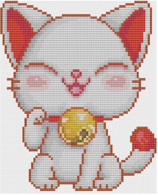 Kawaii Maneki Neko Cross stitch Pattern PDF. $5.00, via Etsy.