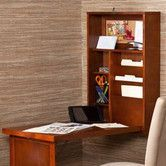 Features:  -Fold out convertible desk.  -Convenient wall mount style.  -Neat and compact design.  -Birch veneer and MDF construction.  -Two adjustable shelves.  Desk Type: -Floating desk.  Top Finish: