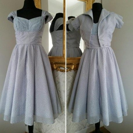 d65e07c3427b Vintage prickig klänning med vid kjol och bolero 50-tal | Vintage clothing  vintagekläder | Kjol, Klänningar, Vintage
