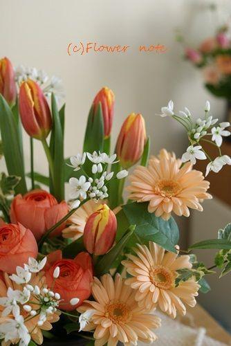 『【出産の祝花】オレンジ色でキュートに』 http://ameblo.jp/flower-note/entry-11456103253.html