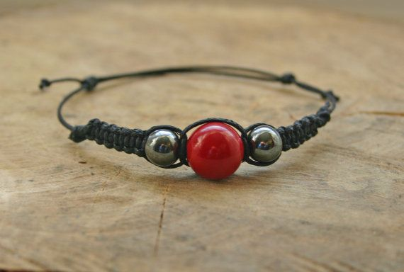Red Coral and Hematite Bracelet Handmade Affordable by TriouZ, £5.79