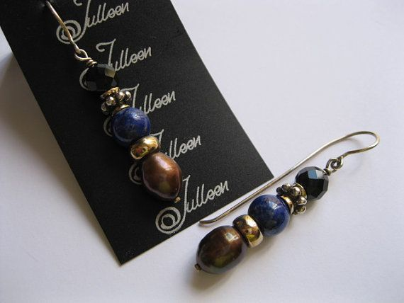 Bronze Pearl, Royal Blue Lapis and Facetted French Jet Earring in Sterling Silver Earring