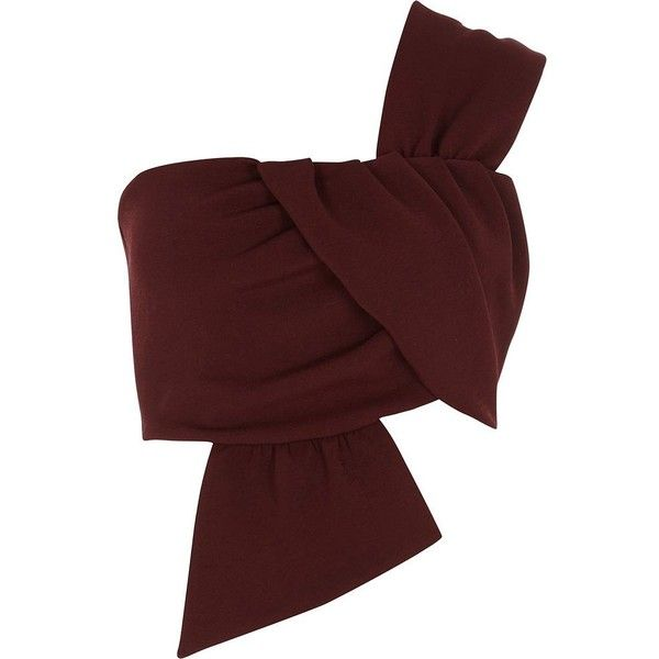 River Island Dark red one shoulder bow crop crop top ($52) ❤ liked on Polyvore featuring tops, red, women, bow top, river island, no sleeve tops, crop tops and red crop top