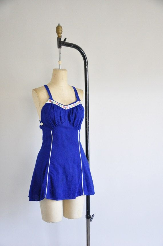 vintage 50s bombshell swimsuit/ 1950s pin up by seaofvintage