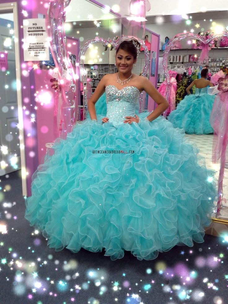 ball gown for a little girl  turquoise | ... organza ruffled puffy corset sweet 15 dress quinceanera ball gown rf03
