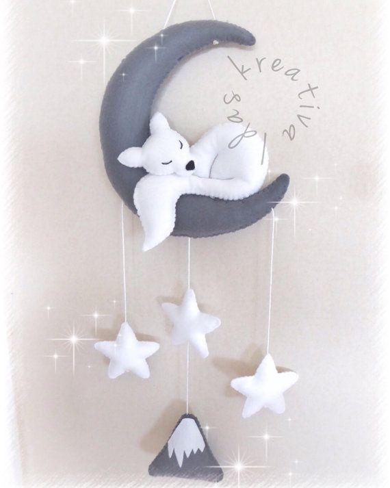 Baby crib mobile Wolf sleeping moon Wallart by idaskreativa