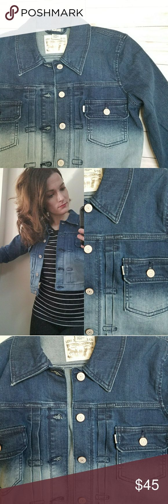 """Levi's • Gradient Dip Dye Denim Jacket Measurements taken while lying flat and buttoned: 19"""" pit to pit 18.5"""" length from shoulder 12"""" Sleeves from under pit   98% Cotton • 2% Elastaine Levi's Jackets & Coats Jean Jackets"""
