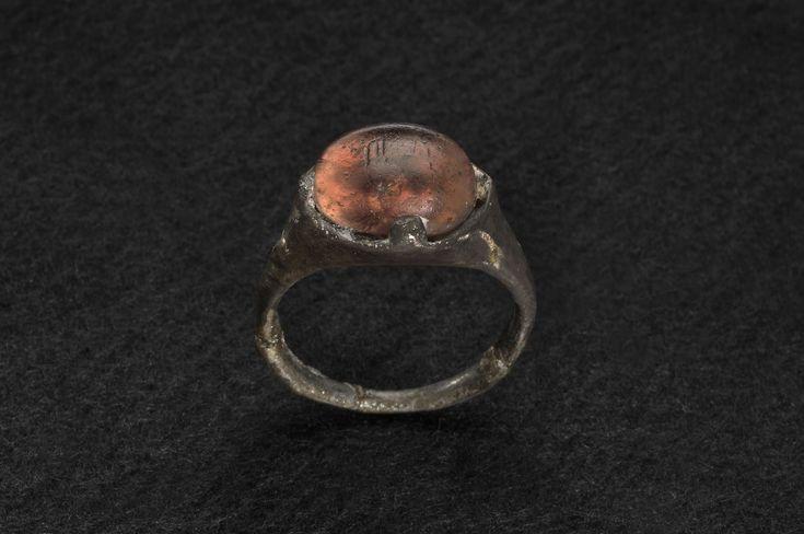 """Ring from Grave 515 at Birka inscribed """"Allah.""""  In the Historiska Museet, Stockholm."""
