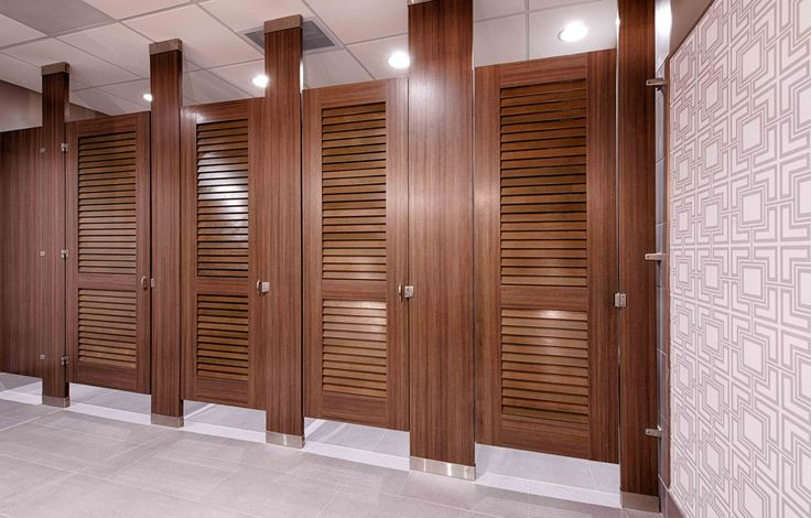 Ironwood Manufactured Toilet Partitions And Classic Louvered Bathroom Doors.  Beautiful, Upscale Public Restroom Stalls