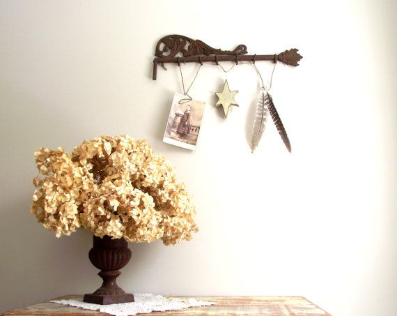 Swing Curtain Rod Wall Hanging Display Ornate Cast Iron by gazaboo, $32.00 #farmhouse #Victorian #repurposed #castiron