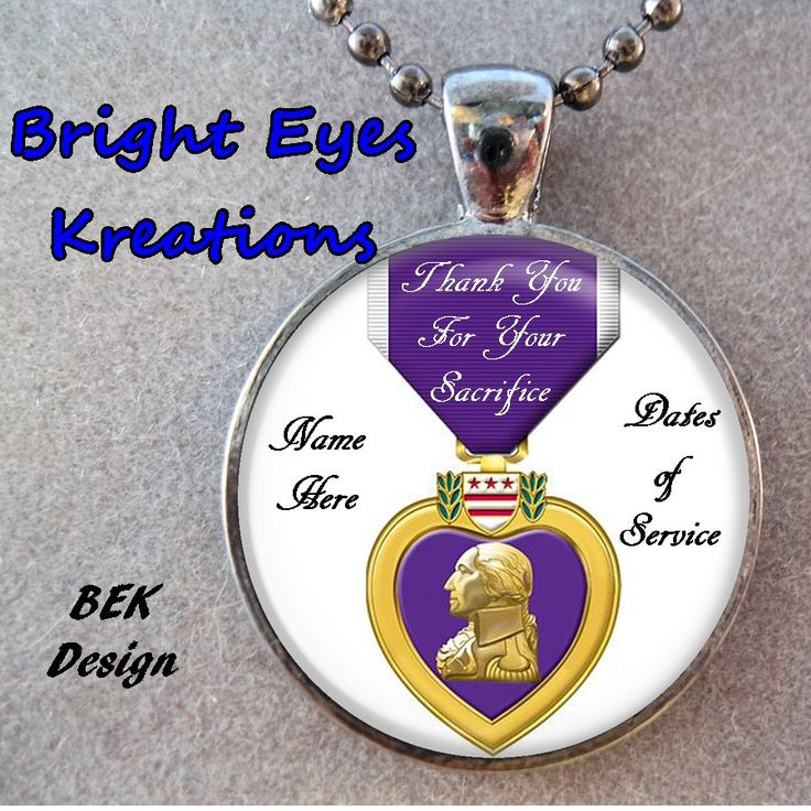 $17.99 Purple Heart - Personalized Name - Glass Pendant Necklace Wounded Soldier Military Gift Custom Made Customized Unisex by BrightEyesKreations on Etsy