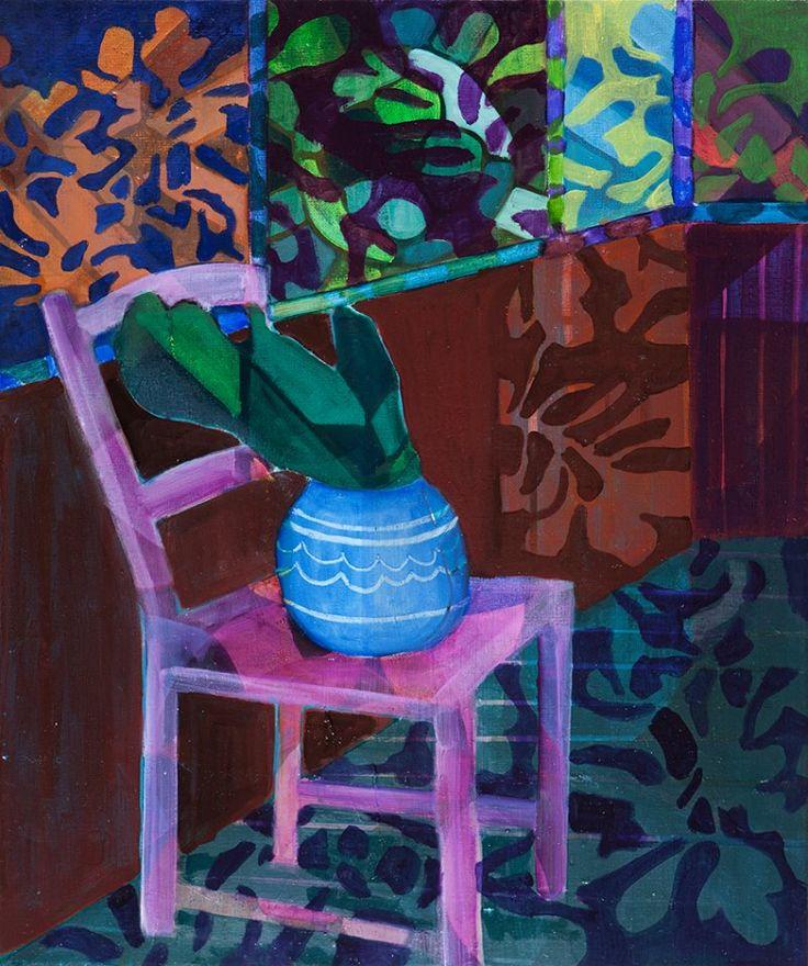 """Anne Torpe """"Pink Chair"""" 60x50 cm oil on canvas"""