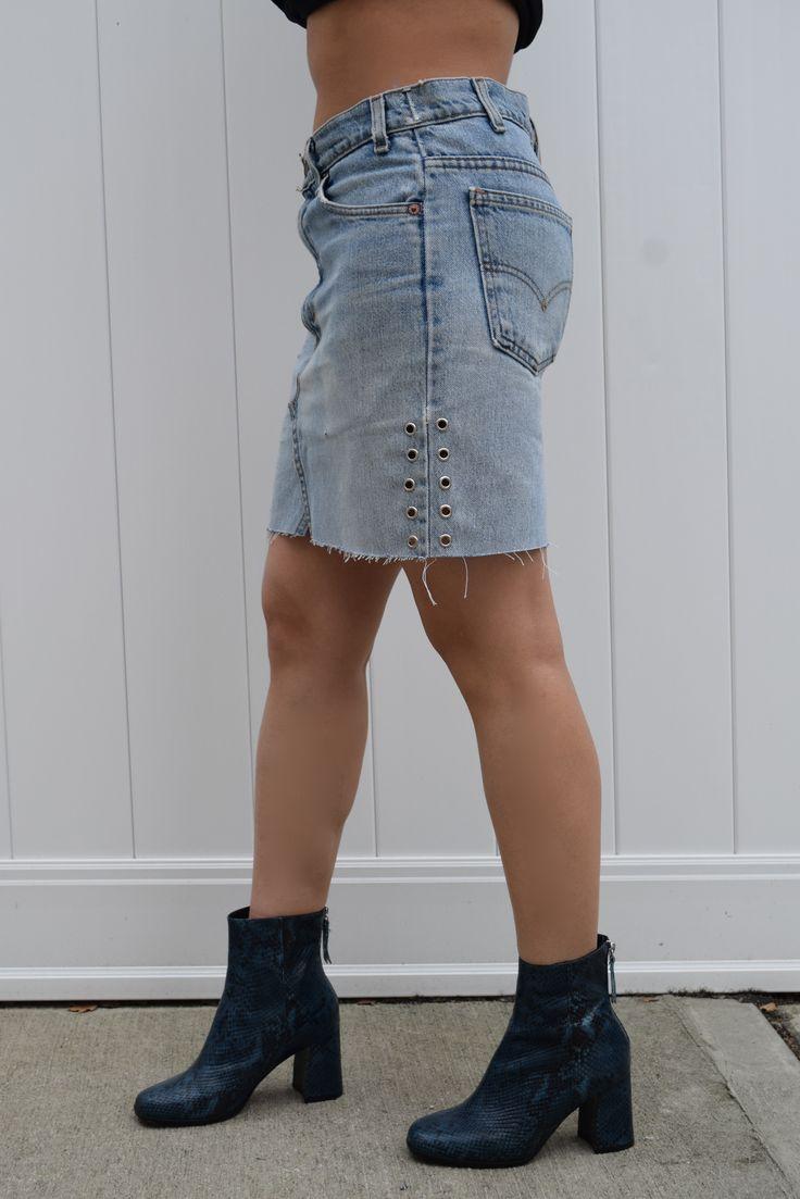 Levis skirt for women, Denim skirt for women, denim skirt with grommets, denim skirt with studs, denim skirt for girls , levis denim skirt