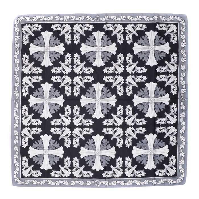 Black White Cross Jacquard Chrome Hearts Silk Scarves Online
