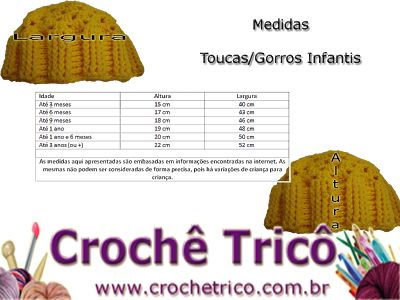 Crochê Tricô: Medidas para Gorros/Toucas Infantis