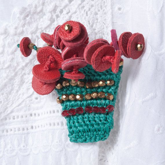 Turquoise Brooch Crochet Flower Pot with Red Leather Flowers