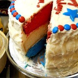 """Surprise Inside Independence Cake   """"Loved this cake! My guests were impressed, and the cake was delicious."""""""