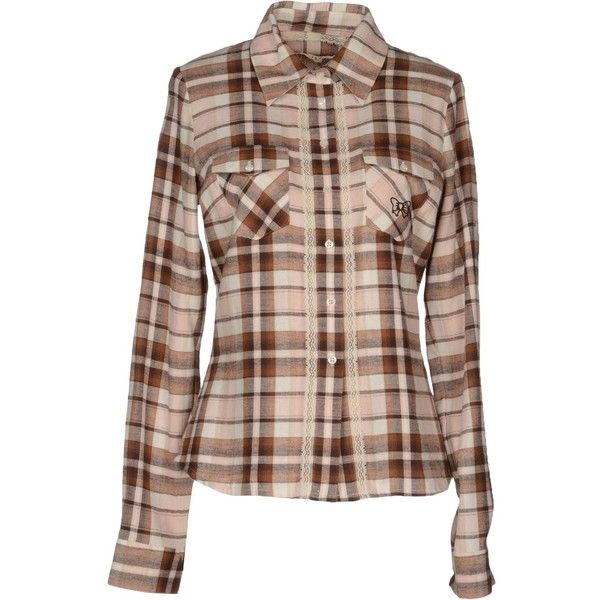 ATELIER FIXDESIGN Shirts ($59) ❤ liked on Polyvore featuring tops, shirts, brown, long sleeve tops, brown shirts, checkered shirt, ruched long sleeve top and ruched tops