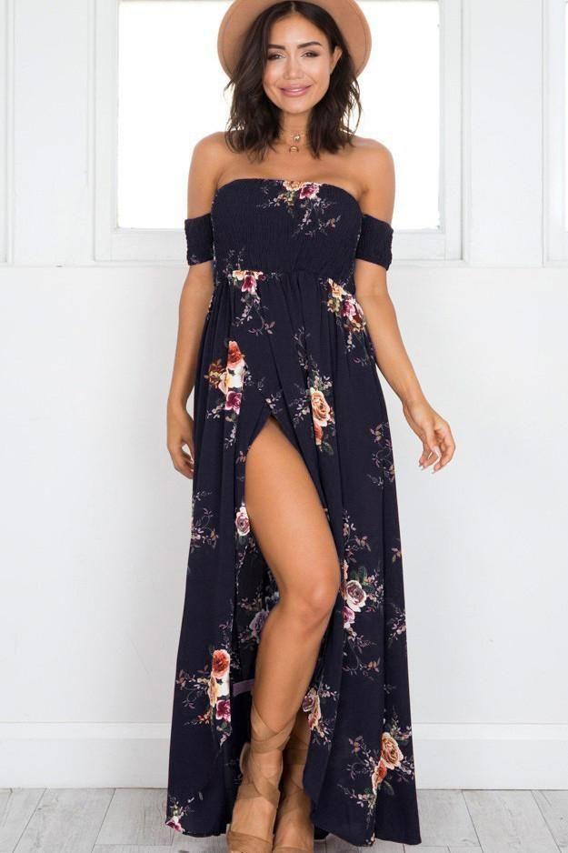 Women Off Shoulder  Tie UP Cut Out High Split Beach Club Print Maxi Long Dress B