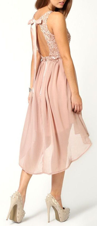 Blush Sequin Open Bow Back Chiffon Dress ♥