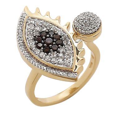 Tracey Bregman Multi Gemstone Sterling Silver 14K Yellow Gold Plate Evil Eye Ring