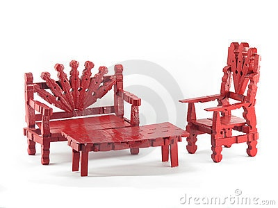 Red Clothespin Furniture by Kimmit - Dreamstime