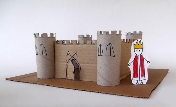 Castle made from toilet paper rolls and cardboard
