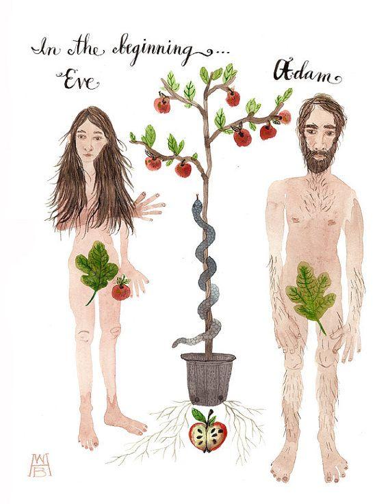 adam and eve original watercolor painting