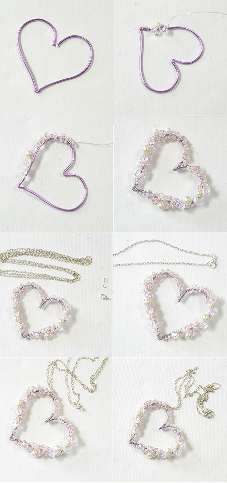 How to Make Purple Wire Wrapped Heart Pendant Necklace Wrap a heart with purple wire and wrap some crystal beads and pearl beads onto the heart, then you can get a pretty heart pendant necklace!
