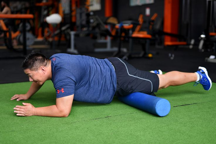 Thigh Muscle Release Technique. Lie on your front. Place a foam roller on your left thigh. With the aid of your hand roll the thigh muscle up and down on the foam roller for 30 seconds. You should feel tension in the thigh muscle being released. Massage the other thigh muscle.