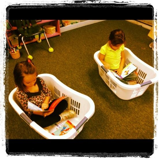 Here's a new version of book baskets!  (Just a picture - no link to follow.)  This is a great idea to create a cozy space for kids to read in if they choose.