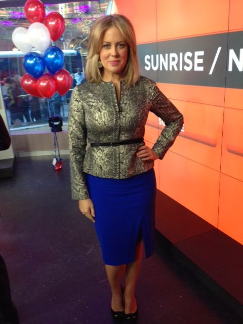 Samantha Armytage, the co-host of the Australia's number one breakfast show, Sunrise, is wearing the Alice by Temperley Jacket on the set.