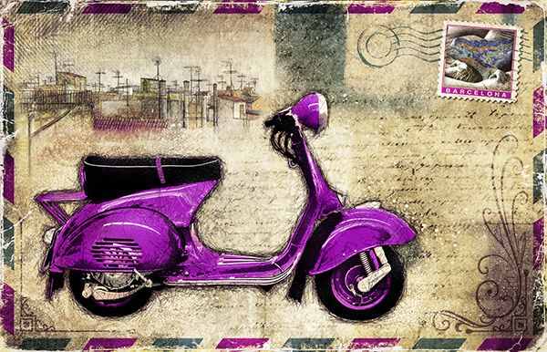 JF_0076_GR1 Cuadro Vespa lila _ Postal Barcelona Vintage
