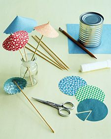 Festive Drink Umbrellas. I would also put a decorative bead on top of the umbrella, to hide the skewer (+ it would look even nicer). What about using one of them as a sunshade for the doll house.... :) #craft #summer #fun