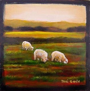 Jan 18 Painting a Day Sheep Grazing in a Pasture -- Toni Grote
