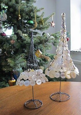 Christmas tree.  Chicken wire and pearl buttons