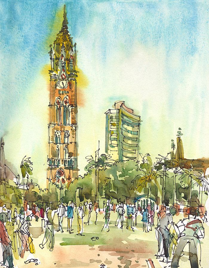 Clock Tower and Cricket, Bombay India. Rajabhai Clocktower and the Bombay Stock Exchange. As seen from Oval Maidan.  Watercolor, pen and ink sketch.  #india #bombay #travel #art